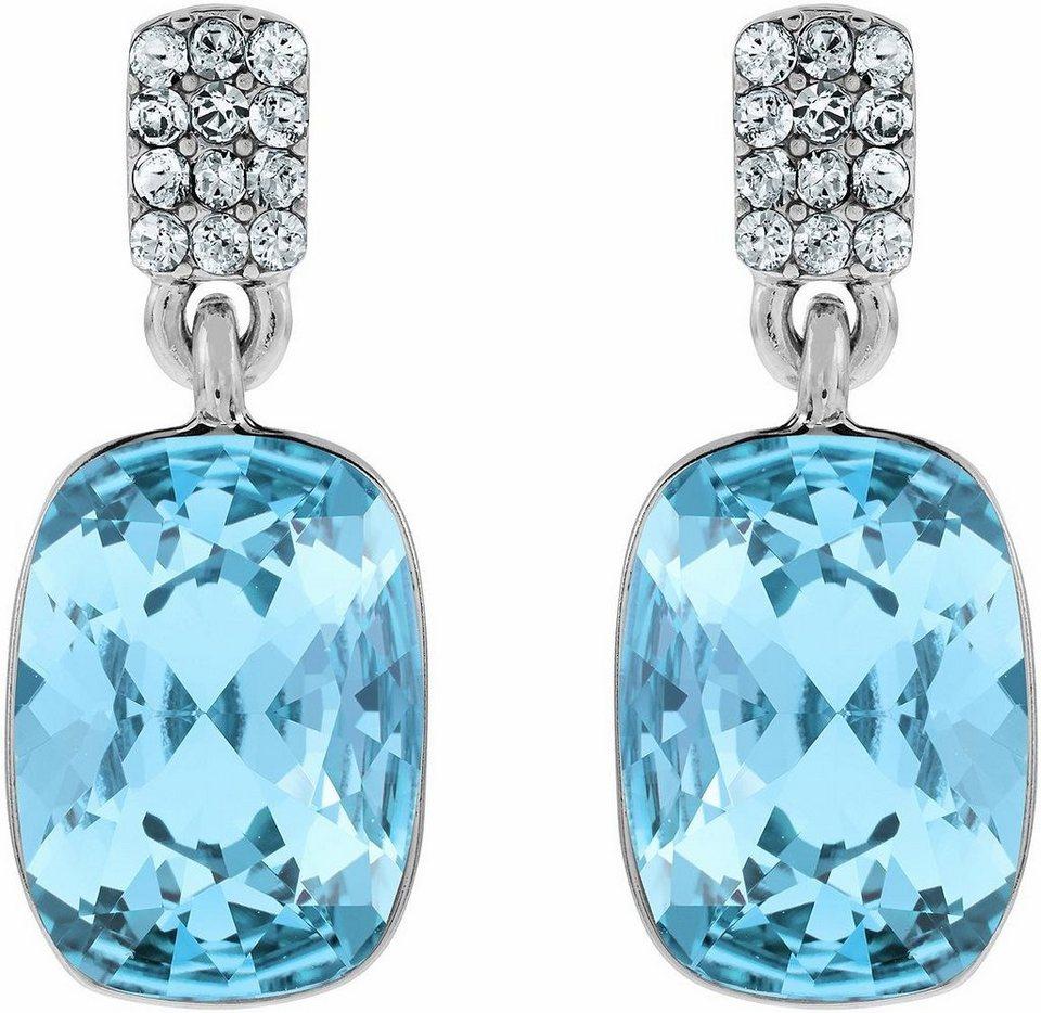 Lolaandgrace Paar Ohrstecker »CHATEAU SQUARE DROPS, 5140865« mit Swarovski® Kristallen in silberfarben-blau