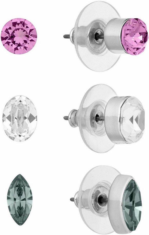 Lolaandgrace Ohrstecker-Set »GLAM EARSTUD SET, 5251892« mit Swarovski® Kristallen (Set, 6 tlg.) in silberfarben-grau-pink