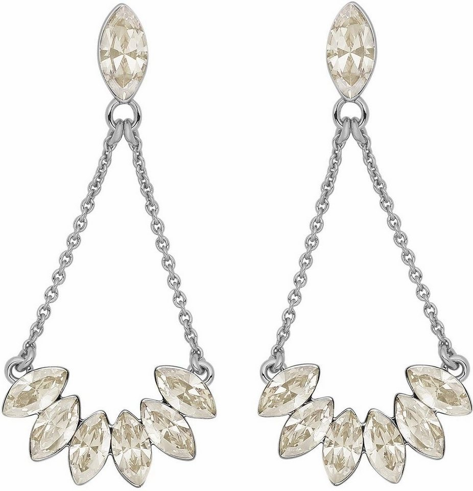 Lolaandgrace Paar Ohrstecker »LEAF EARRINGS, 5251744« mit Swarovski® Kristallen in silberfarben