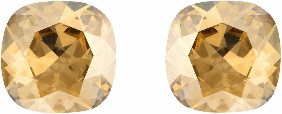 Lolaandgrace Paar Ohrstecker »GEM STUDS, 5028129« mit Swarovski® Kristallen in goldfarben-champagner