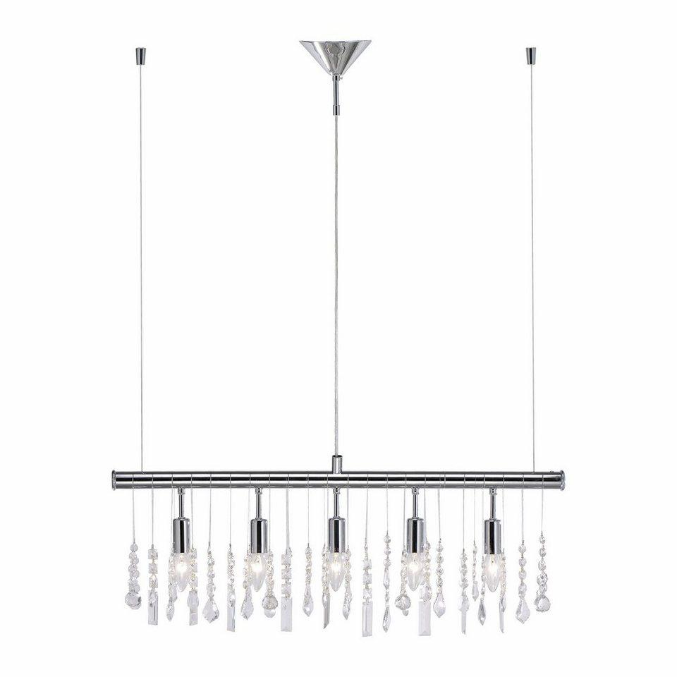 leuchten direkt pendelleuchte 5 flammig geschmackvolle kristalloptik f r brillantes licht. Black Bedroom Furniture Sets. Home Design Ideas