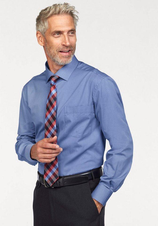 Studio Coletti Businesshemd (Set, 3 tlg., mit Krawatte und Einstecktuch) in blau