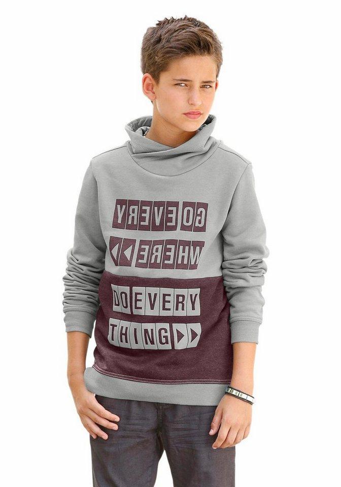 s.Oliver RED LABEL Junior Sweatshirt Mit breitem Schalkragen in grau-meliert
