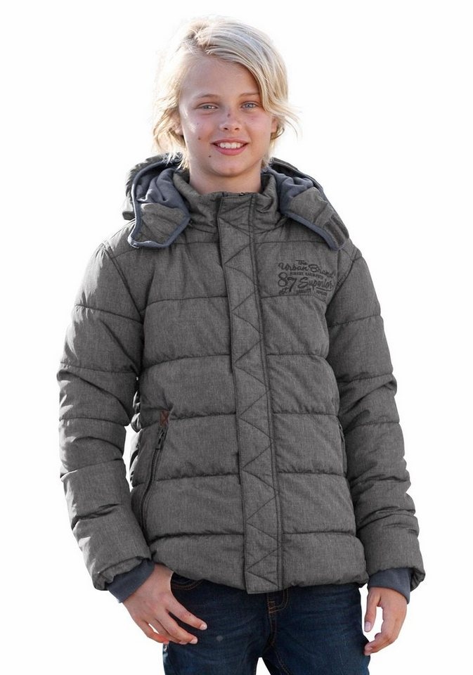 s.Oliver RED LABEL Junior Steppjacke winterwarm gefüttert und wattiert in grau-meliert