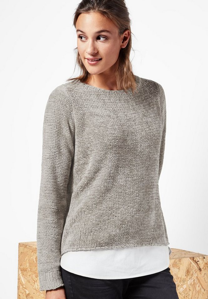 Street One Pullover aus Chenille Nia in ghost grey melange
