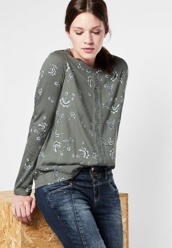 Street One Langarmshirt mit Print Hazel in dusty olive
