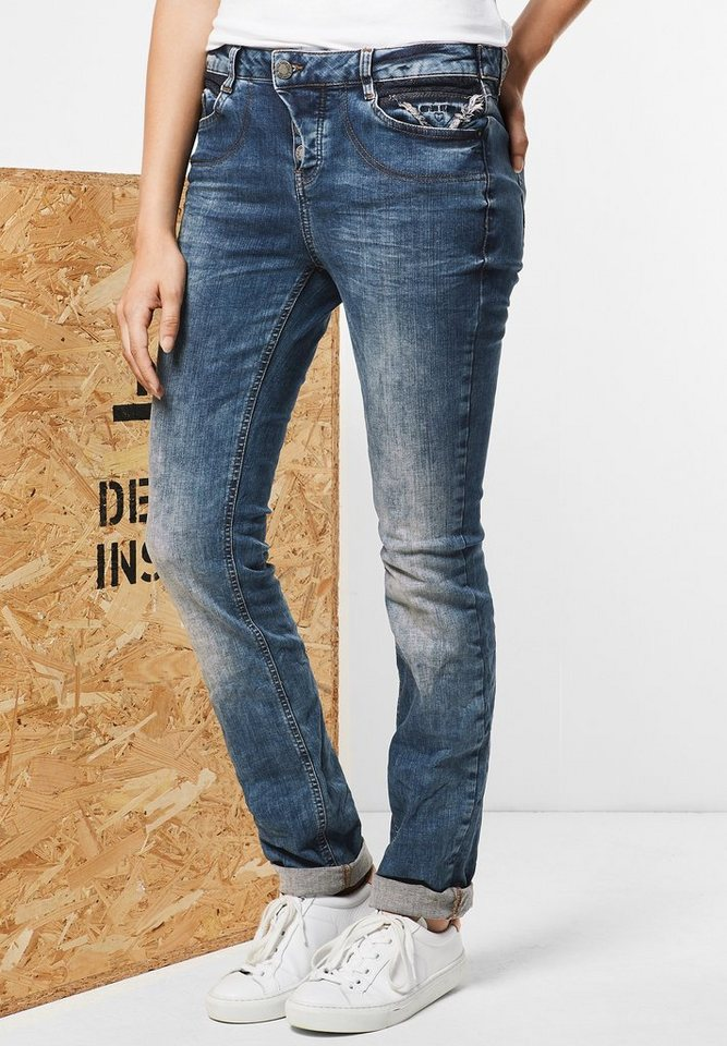 Street One Low Waist Denim Mika in dark blue stone wash