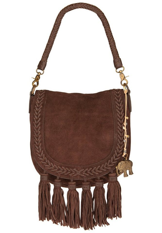 ANOKHI Veloursledertasche »O'MALLY« in chocolate