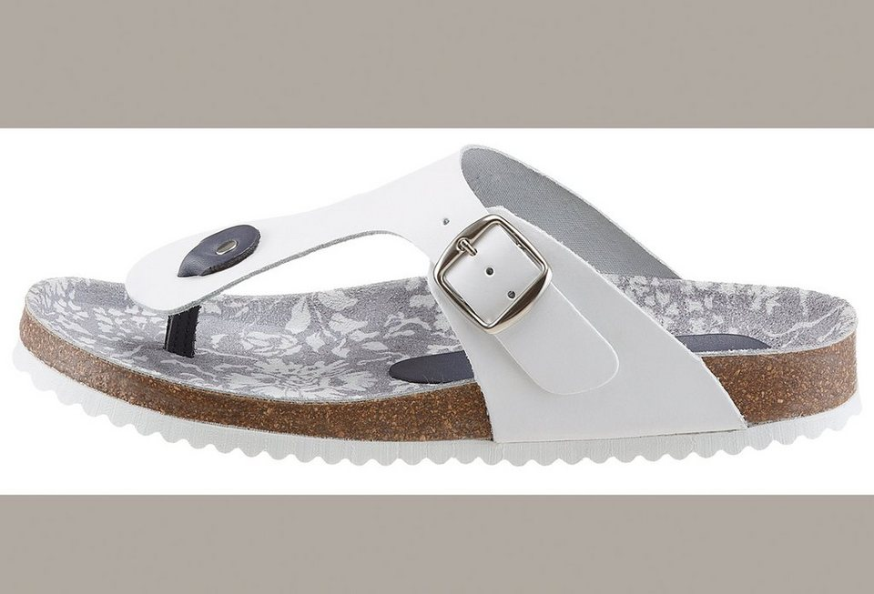 Eddie Bauer Leder-Zehenpantolette in Weiß