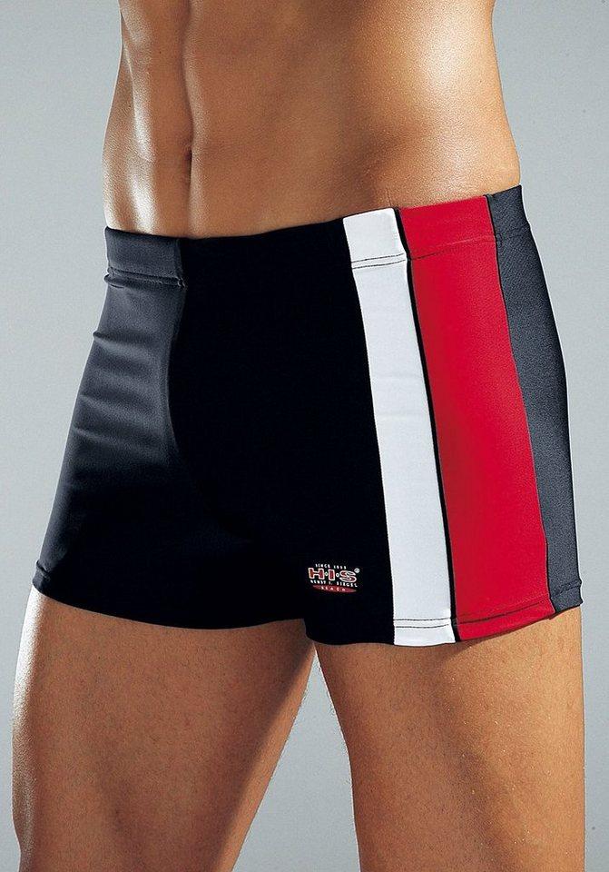 Boxer-Badehose, H.I.S in schwarz-rot-weiß
