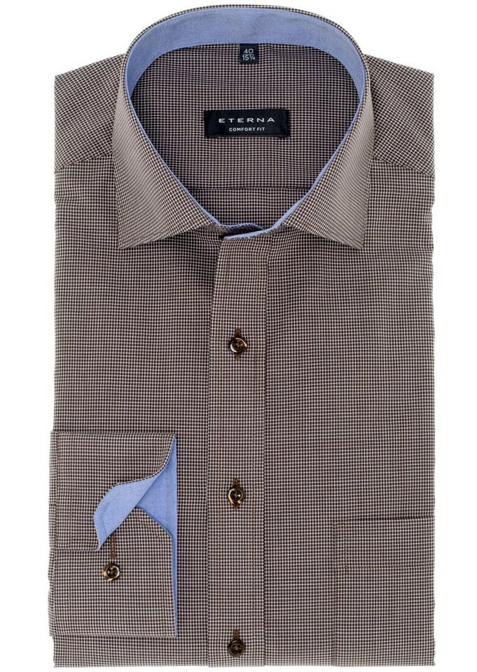 ETERNA Langarm Hemd »COMFORT FIT« in braun