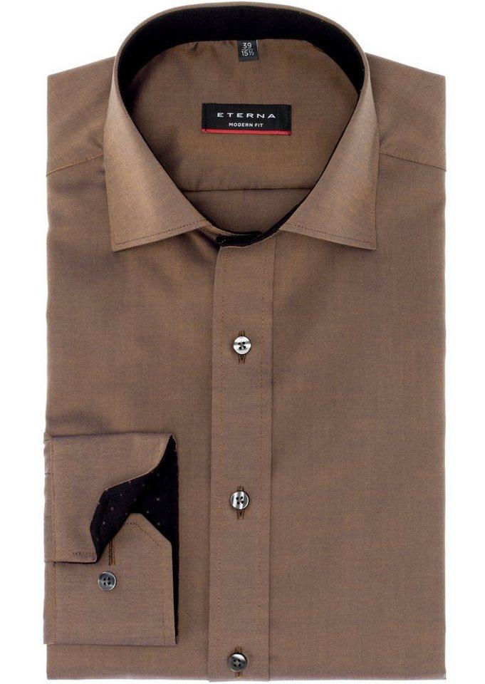ETERNA Langarm Hemd »MODERN FIT« in beigebraun