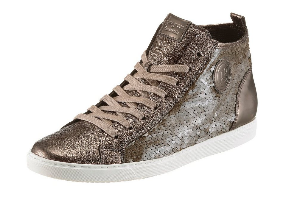 Paul Green Sneaker in schimmernder Optik in taupe