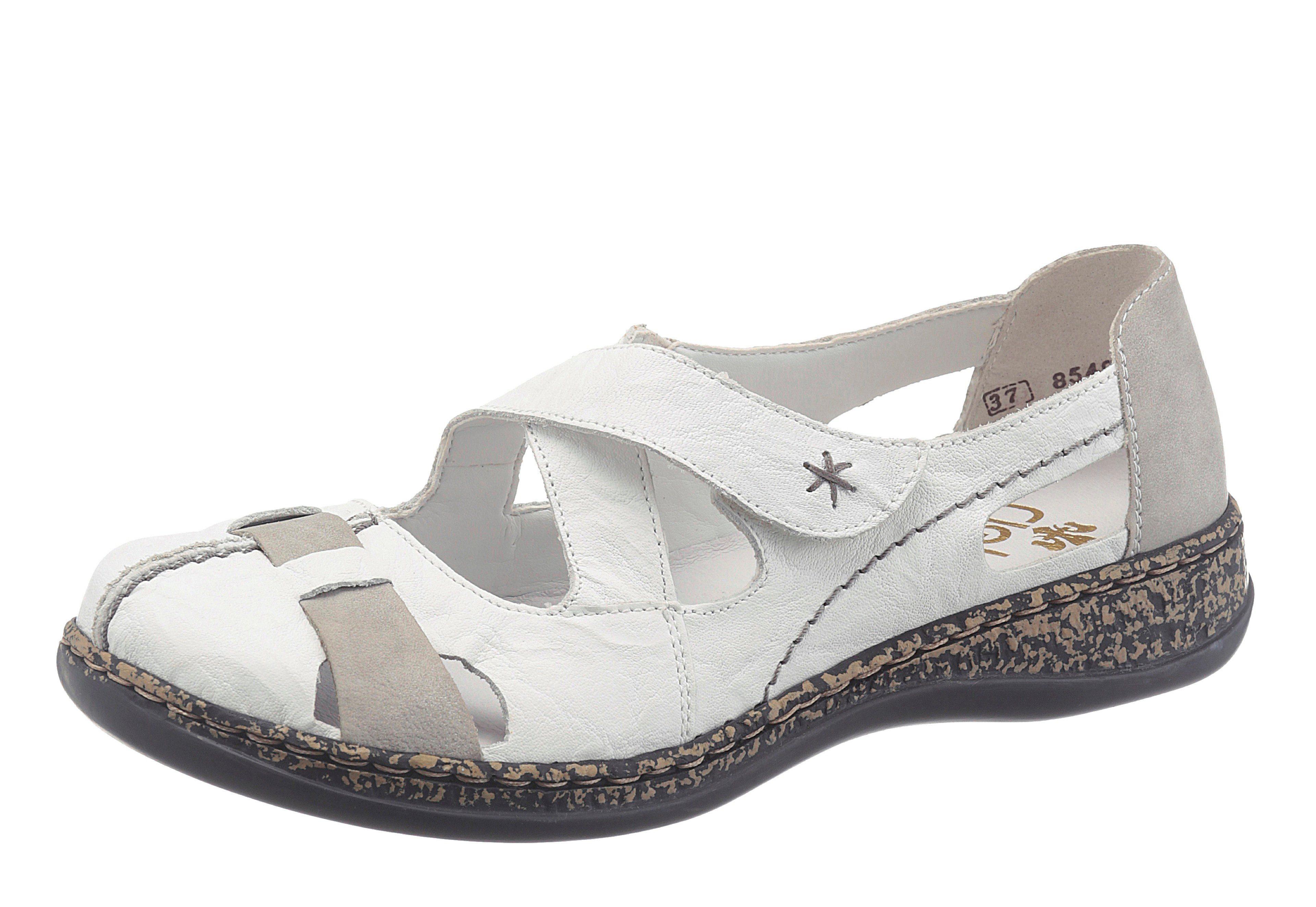 Rieker Slipper, mit Klettverschluss online kaufen  weiß-grau