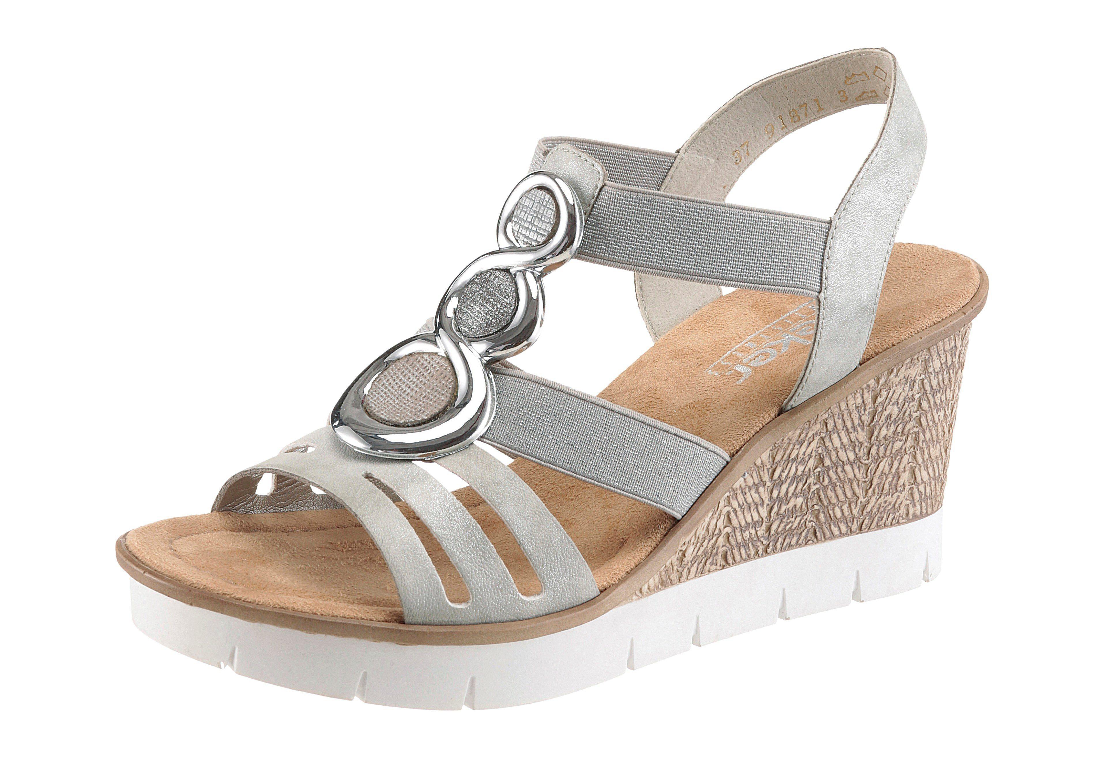 Rieker Sandalette, mit Glitzer-Steinchen, weiß, weiß-silberfarben