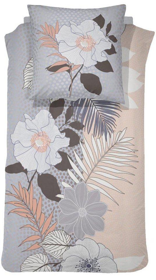 Bettwäsche, Damai, »Nunzia«, mit großen Blumen in grau-beige