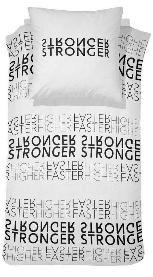 Bettwäsche, Cinderella, »Olympic«, mit Schriftmotiv in weiß