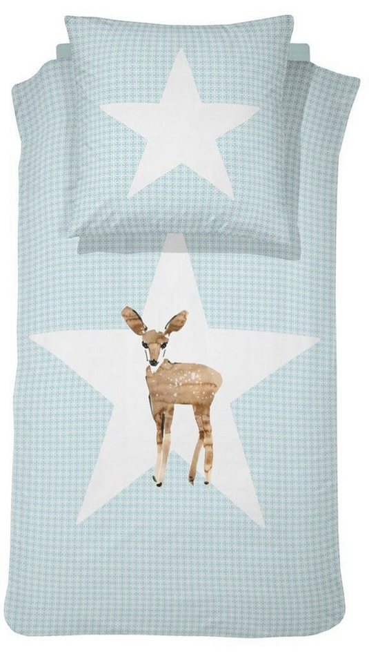 Kinderbettwäsche, Damai, »Reh«, mit Tiermotiv in blau