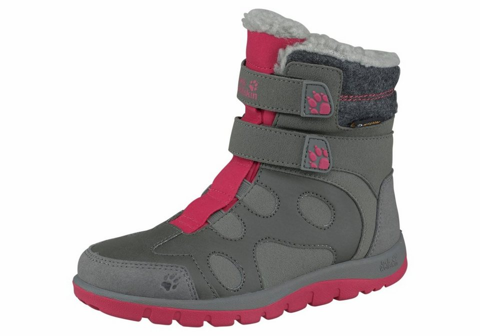 Jack Wolfskin »Providence Texapore High Velcro Girls« Outdoorwinterstiefel in grau-pink