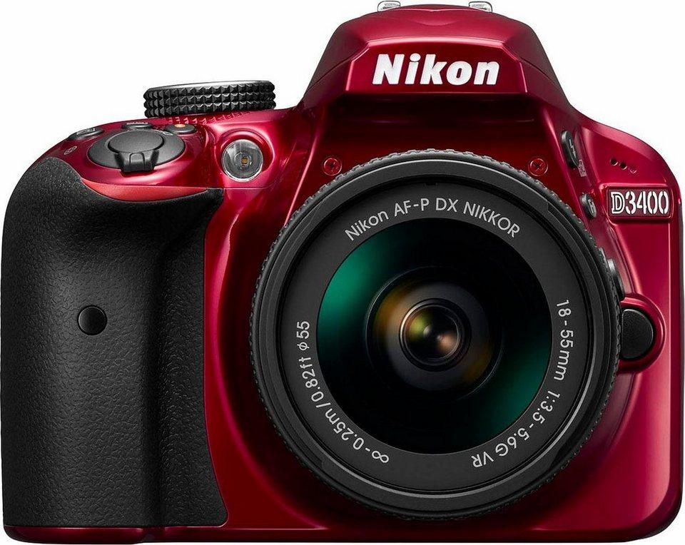 Nikon D3400 Kit AF-P 18-55 VR Spiegelreflex Kamera, AF-P 18-55 VR Zoom, 24,2 Megapixel in rot