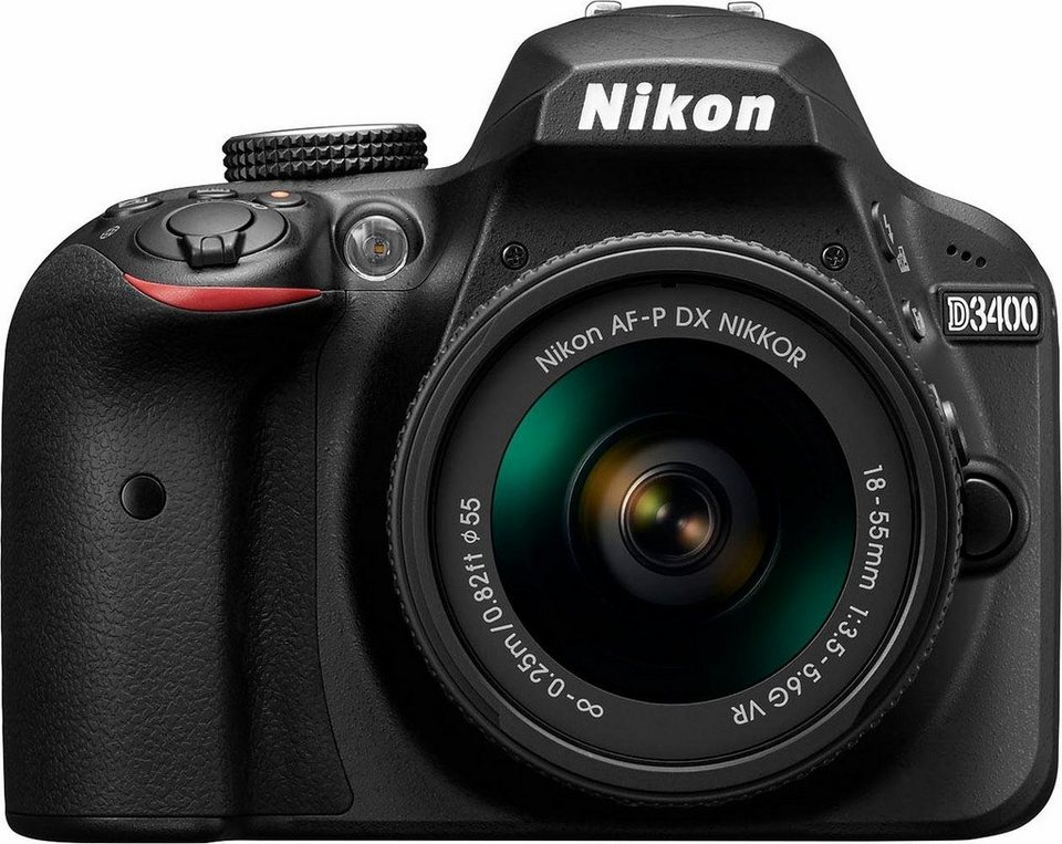 Nikon D3400 Kit AF-P 18-55 VR Spiegelreflex Kamera, AF-P 18-55 VR Zoom, 24,2 Megapixel in schwarz