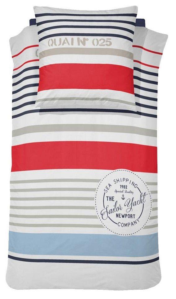 Bettwäsche, Damai, »Newport«, in maritinem Design in weiß-rot