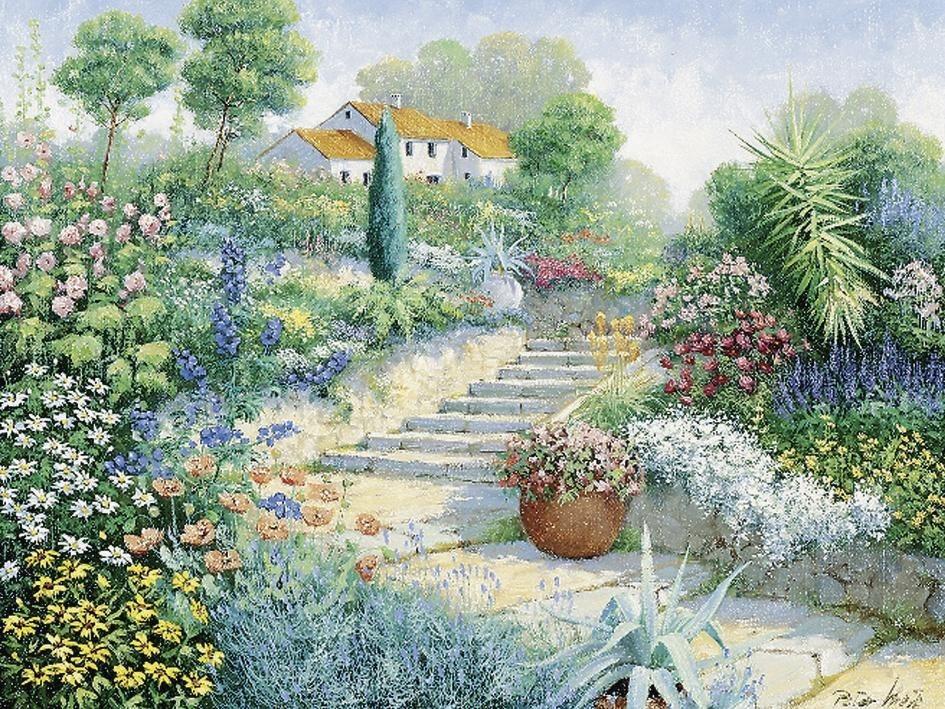 Home affaire, Leinwandbild, »Peter Motz: Überall Blumen«, 80/60 cm in grün