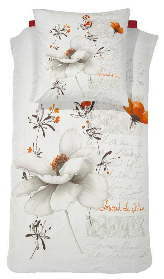 Bettwäsche, Damai, »Blanche«, mit großen Blüten in weiß