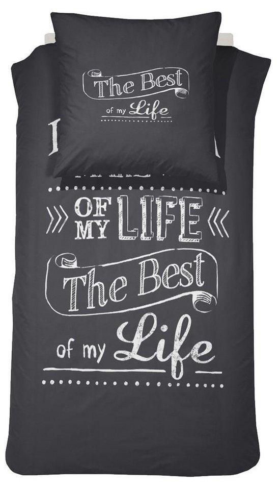 Bettwäsche, Damai, »Best of my life«, mit Spruch in schwarz