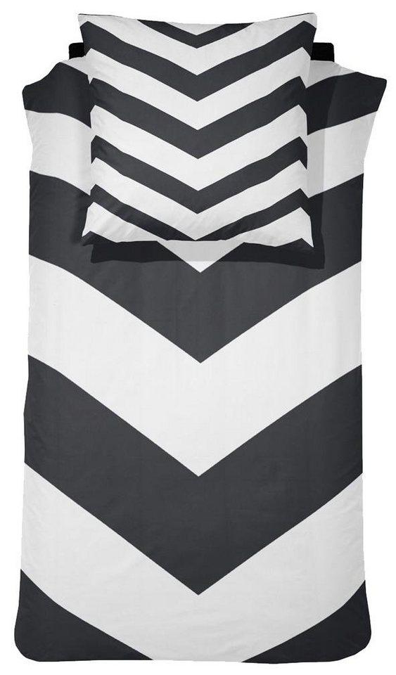 Bettwäsche, Damai, »Chevron«, mit Streifen in schwarz-weiß