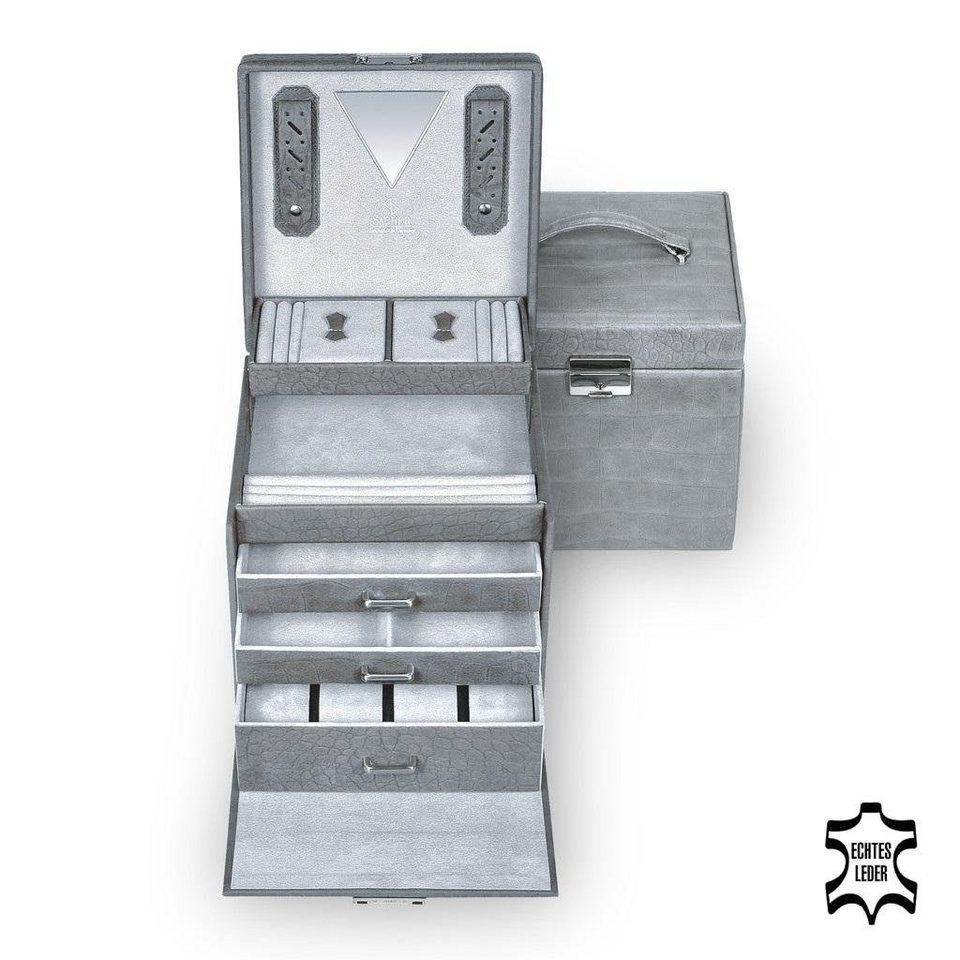 Sacher Schmuckkoffer aus hochwertigem Leder in grau