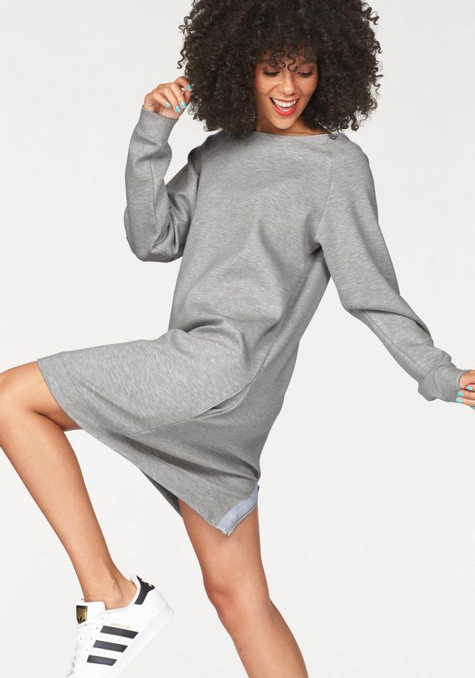 Bench Sweatkleid mit auffälligem Reißverschluss am Rücken in grau-meliert