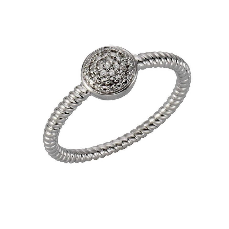 CELESTA Ring »925/- Silber 5x Diamant« in Silbergrau