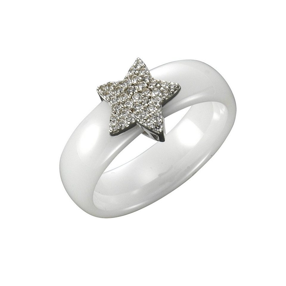 Jacques Lemans Ring 925/- Sterling Silber mit Keramik und Zirkonia in weiß
