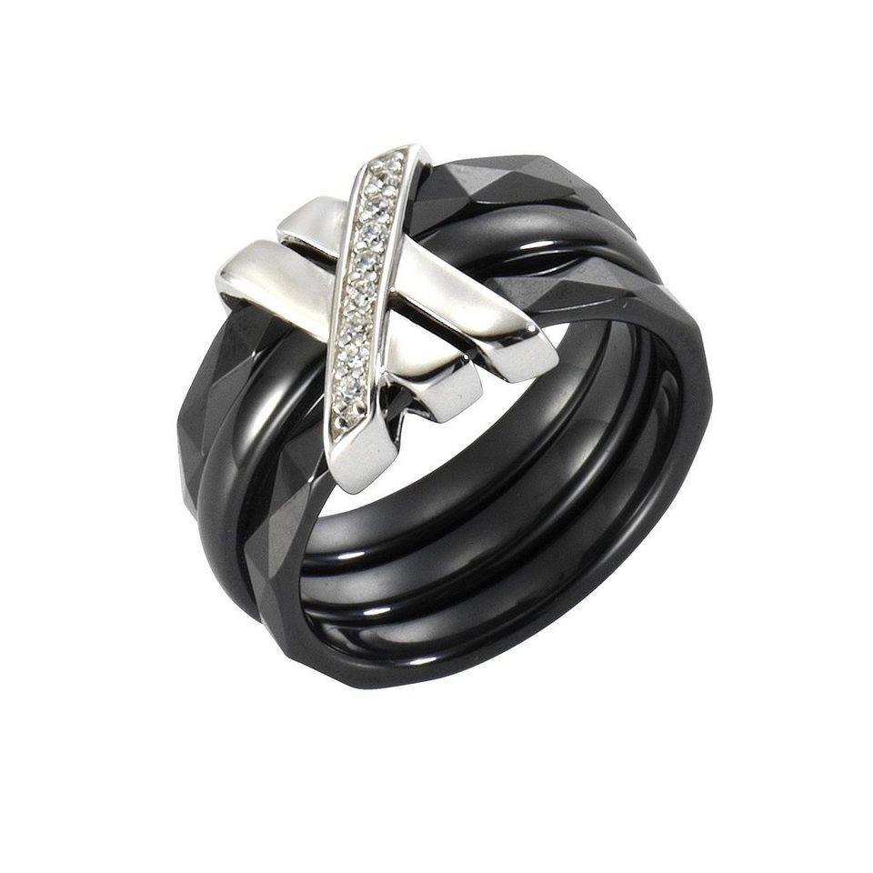 Jacques Lemans Ring 925/- Sterling Silber mit Keramik und Zirkonia in schwarz
