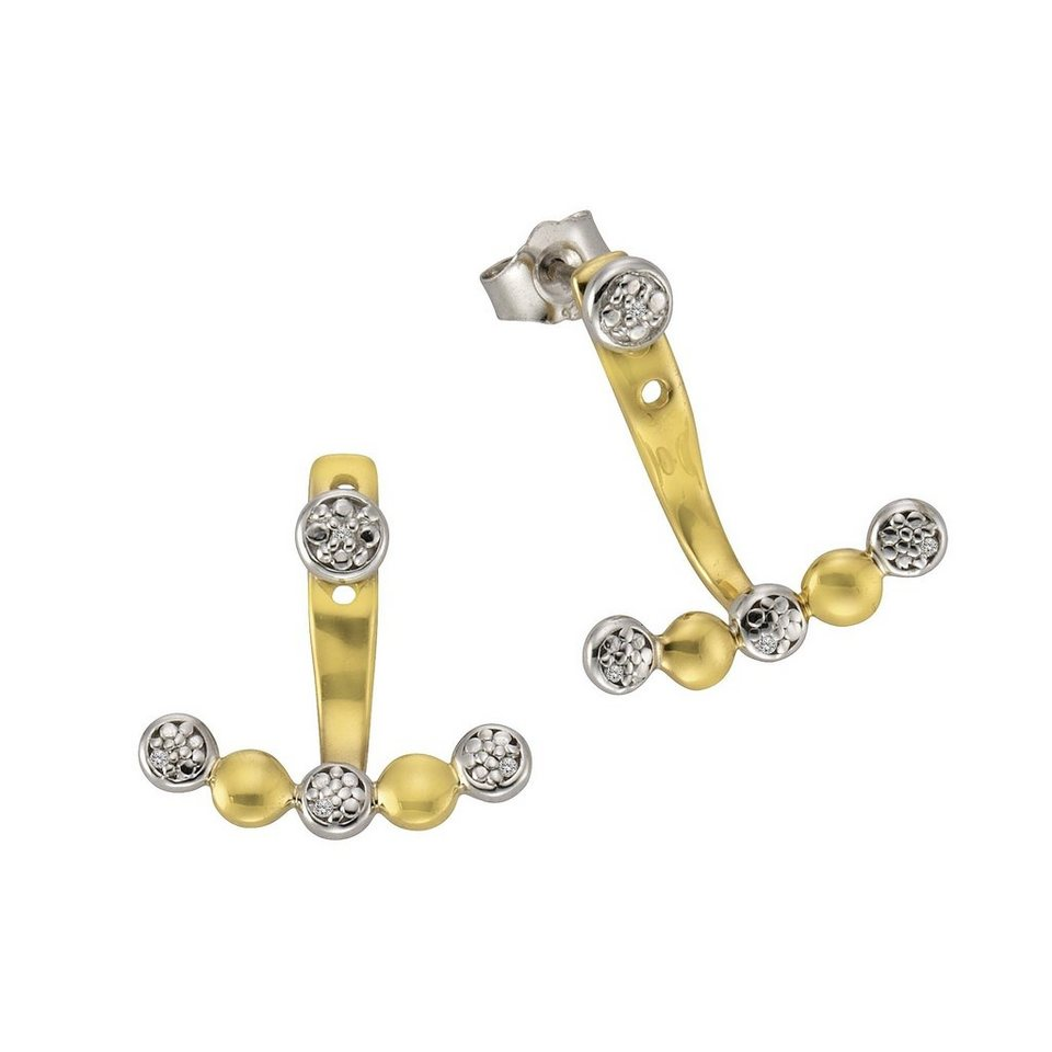 CELESTA Ohrstecker »925/- Silber 4x Diamant« in mehrfarbig