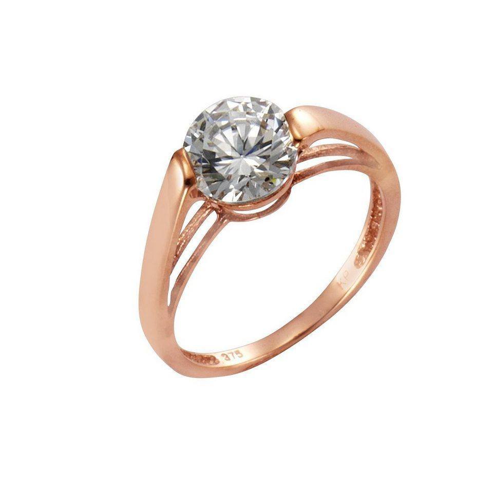 Jacques Lemans Ring 375/- Gold rosévergoldet mit Zirkonia in rosa