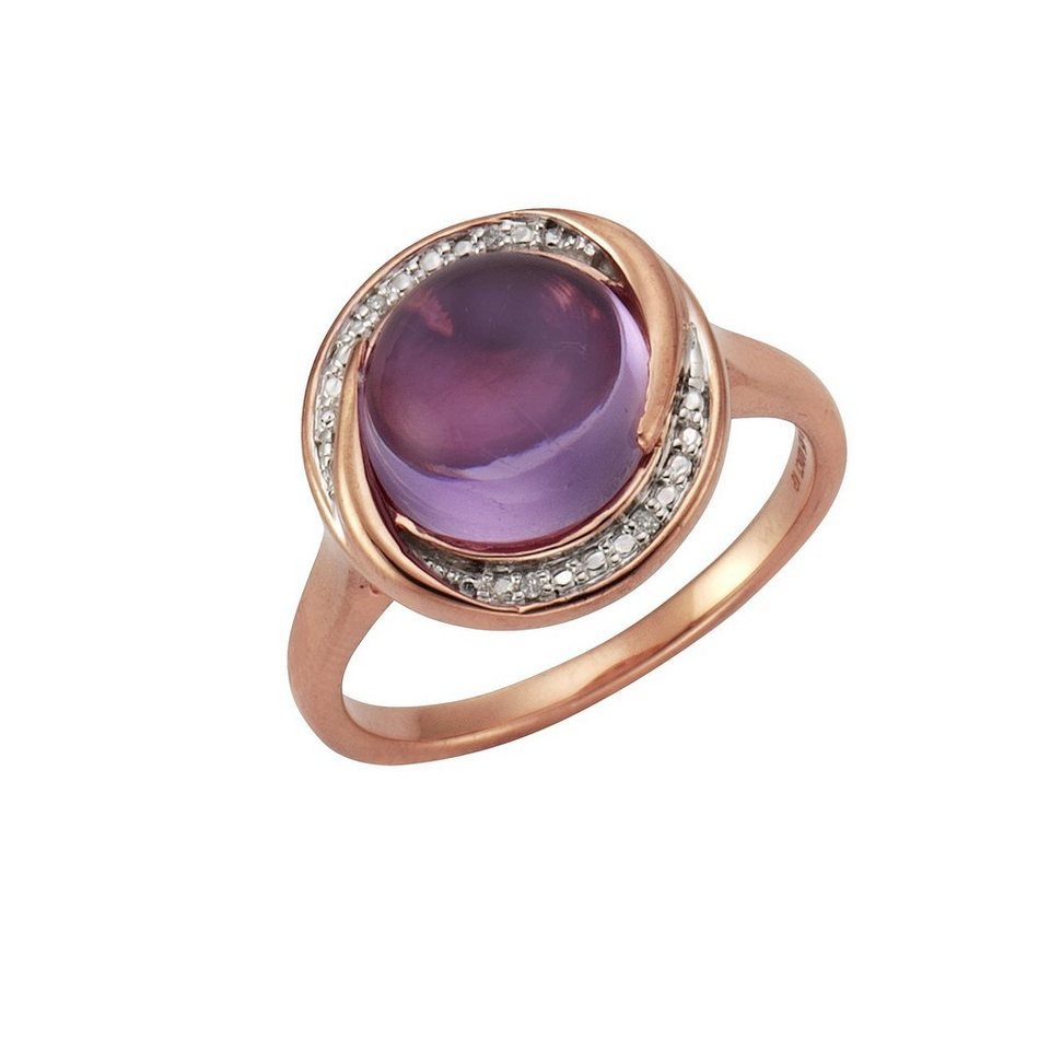 CELESTA Ring »925/- Silber 4x Diamant« in rot