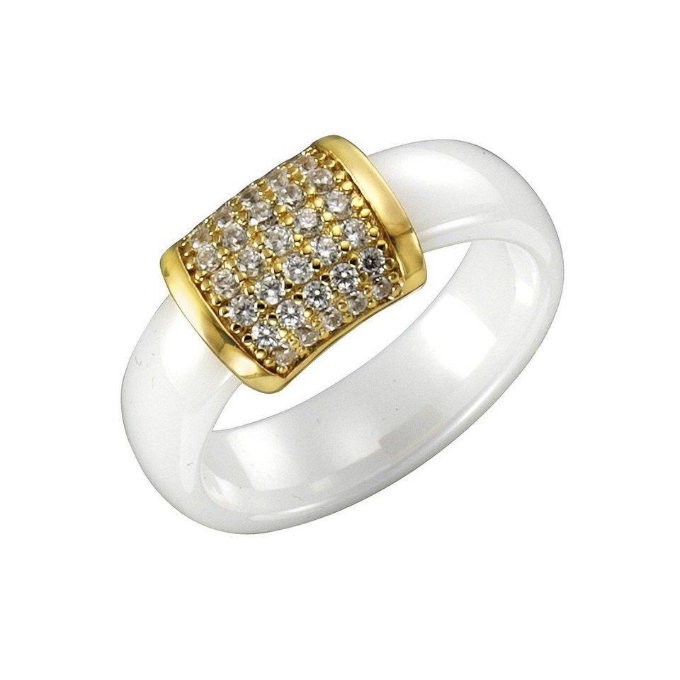 Jacques Lemans Ring 925/- Sterling Silber vergoldet mit Keramik und Zirkonia in weiß