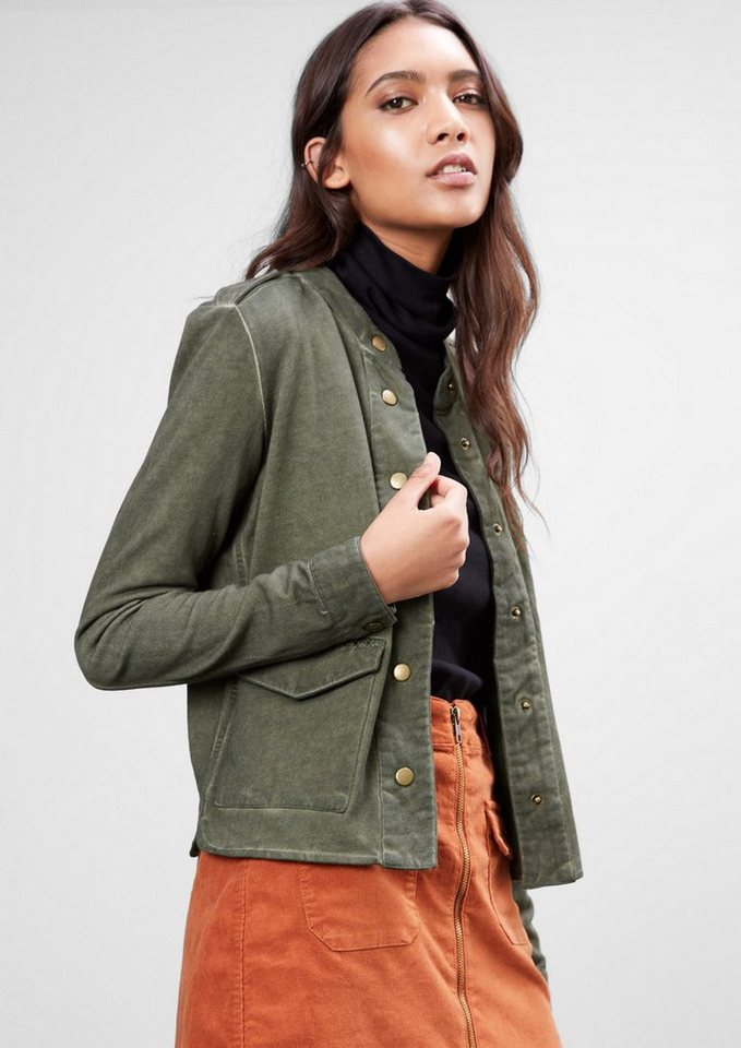 Q/S designed by Sweatjacke im Military-Style in olive