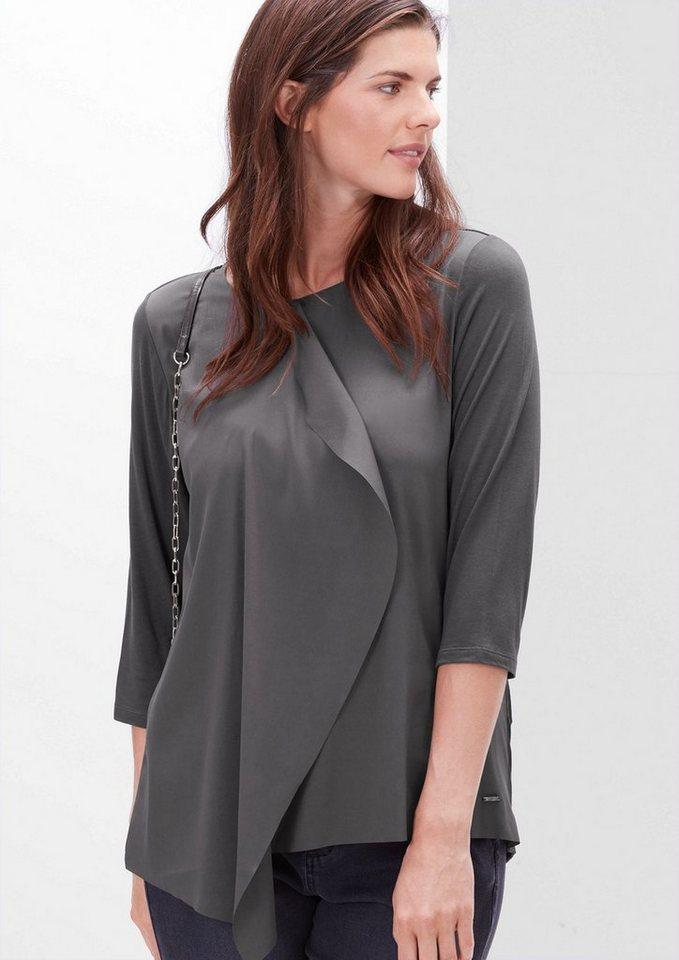 TRIANGLE Shirt mit Wickel-Effekt in dark silk grey