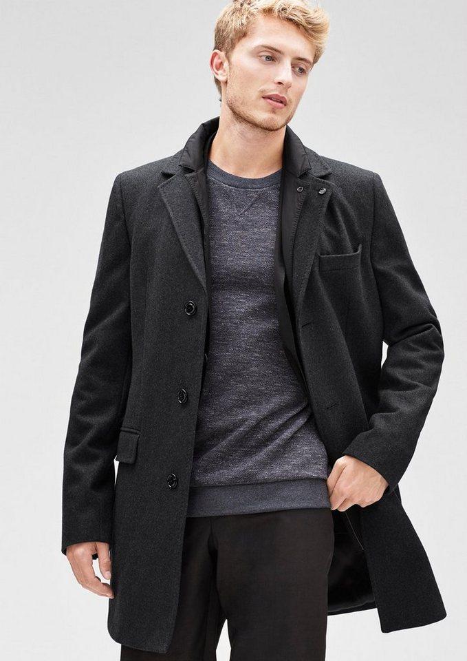 s.Oliver BLACK LABEL Slim: Gefütterter Wollmantel in dark grey