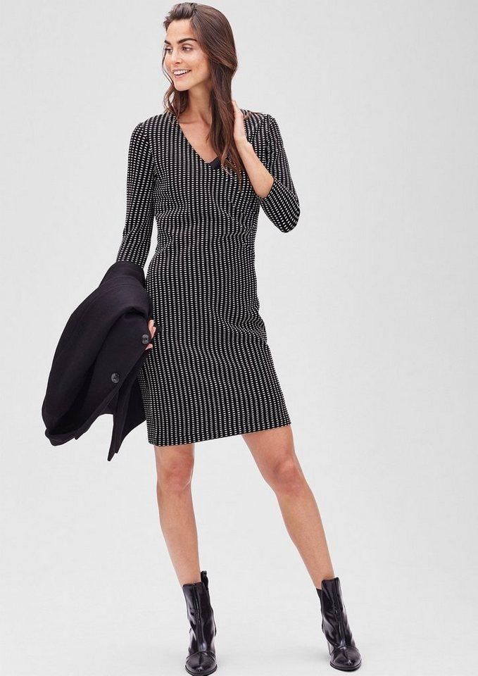 s.Oliver BLACK LABEL Jacquard-Kleid in Black-and-White in black
