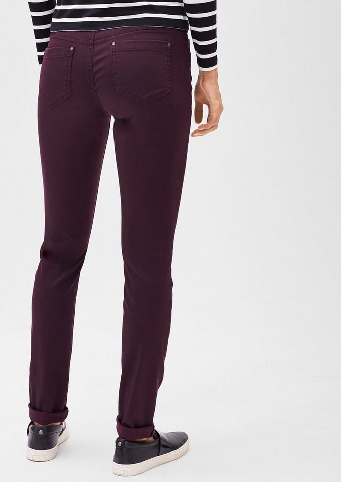s.Oliver BLACK LABEL Slim: Stretch-Hose aus Satin in perfect plum