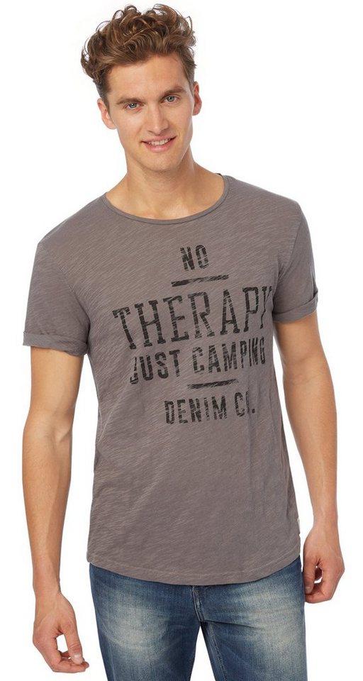 TOM TAILOR DENIM T-Shirt »fein strukturiertes Print-Shirt« in somber grey