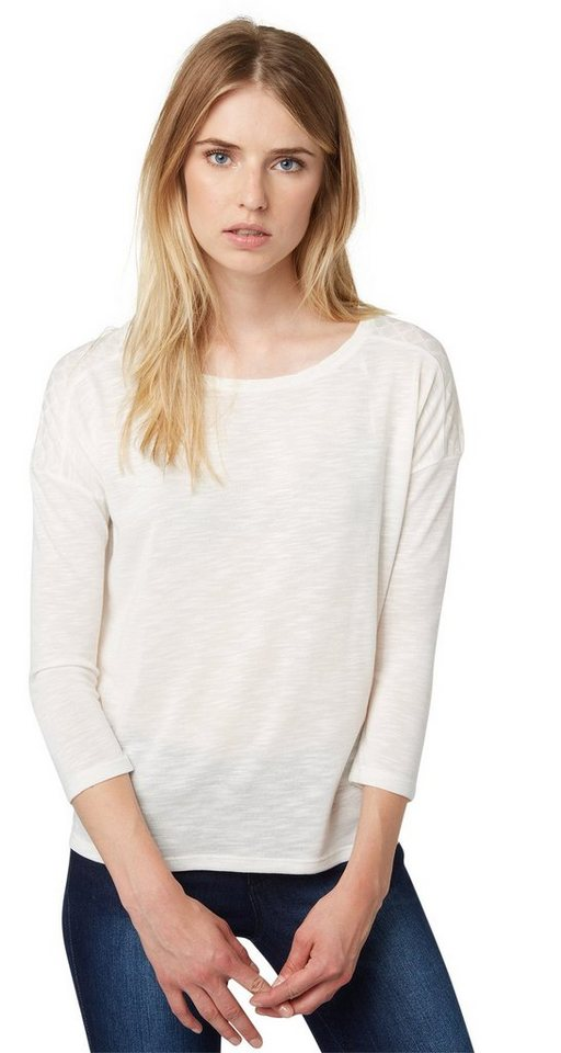 TOM TAILOR DENIM T-Shirt »loose fit shirt with insert« in off white