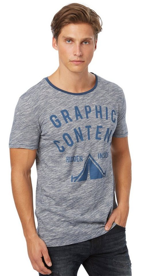 TOM TAILOR DENIM T-Shirt »Print-Shirt mit feiner Struktur« in dark duck blue