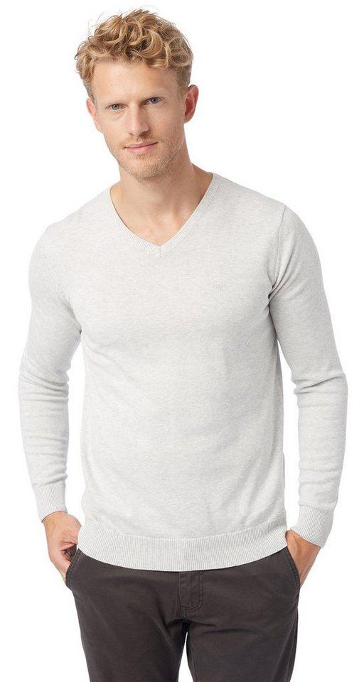 TOM TAILOR Pullover »Basic V-Ausschnitt Pullover« in white grey melange