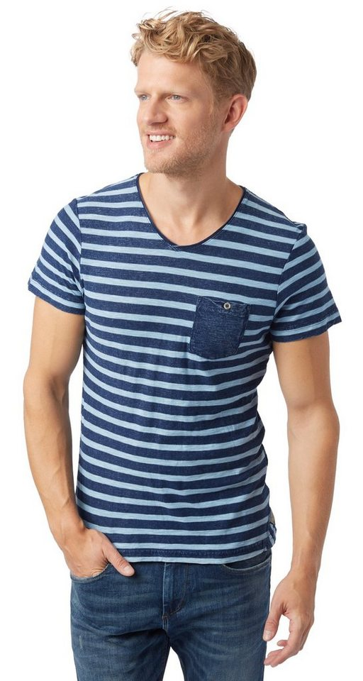 TOM TAILOR T-Shirt »striped tee overdyed« in knitted navy