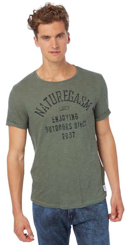 TOM TAILOR DENIM T-Shirt »fein strukturiertes Print-Shirt« in light spruce green